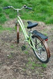 custom made wooden bike fenders on a modern townie bicycle