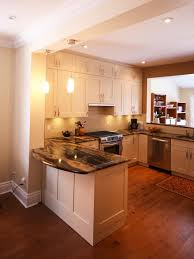 u shaped kitchen designs stainless steel cabinet brown harwood floor rustic wood countertops attractive mosaic tile backsplash home improvement and