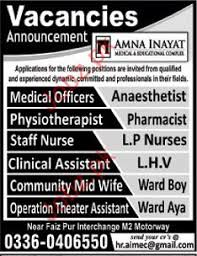 Clinical Assistant Jobs Medical Jobs In Amna Inayat Medical College 2019 Job Advertisement