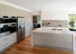 Laminate Floor Kitchen Contemporary Kitchen Natural Lighting White Island White Granite