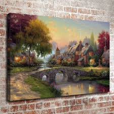 thomas kinkade oil painting landscape rural cottage series 2 hd canvas print wall art pictures home decor living room decoration thomas kinkade landscape