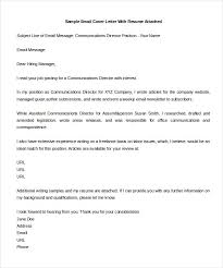 Email Cover Letter Sample Format Adriangatton Com