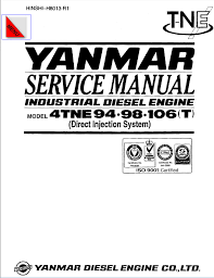 yanmar industrial diesel engine 4tne94 98 106 t service manual repair manual yanmar industrial diesel engine 4tne94 98 106 t service manual