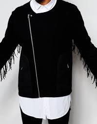 asos jersey biker jacket with fringe asos jersey biker jacket with fringe