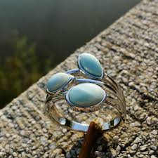 2019 <b>DJ CH</b> Genuine Larimar Branch Leaf Ring Rhodium On <b>925</b> ...