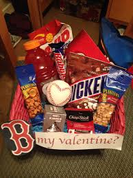 valentine s gift basket for a boyfriend who loves the boston red sox baseball