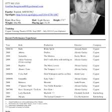 Special Skills For Acting Resume Theatre Resume Musical Special Skills Broadway Example Cv Template 41