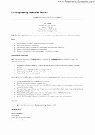 Civil Engineering Technician Resume