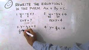 rewrite the equations in the form ax by c