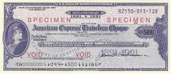 all american express traveler s checks issued only in 1991 used this general centennial memorative format
