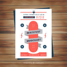 Music And Art Flyer With Skateboard Stock Images Page Everypixel