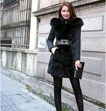 hot new fashion winter outerwear female slim luxury coats hooded fur collar warmth womens surcoat with belt black clothing large size winter coat women