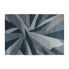 shatter geometric rug denim blue