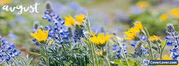 Hello August Flowers 2 seasonal Facebook Cover