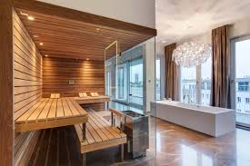 luxury design for sauna room in modern bathroom decorating ideas with funky ceiling lighting
