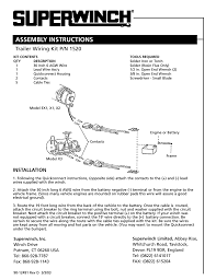 superwinch trailer wiring kit for lighter series winches 1520 user manual 2 pages