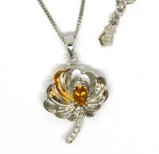 clogau silver and rose welsh gold chrysanthemum pendant