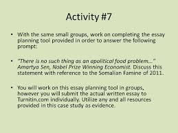 the so an famine and horn of africa crisis of ppt  activity 7 the same small groups work on completing the essay planning tool