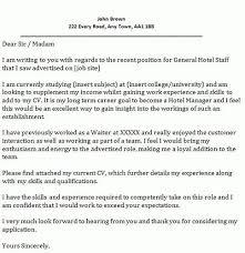 Cover Letter For Hospitality Job Hospitality Management Cover Letter