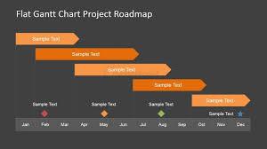 Project Milestones Chart Flat Roadmap Gantt Chart With Milestones Slidemodel