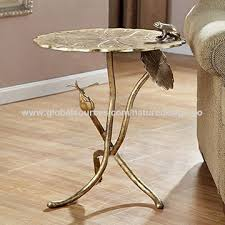 china metal round coffee table gold end table chic side table branches design