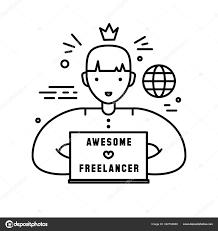 Freelance Sign Designer Freelance Line Icon Sign Vector Illustration Awesome