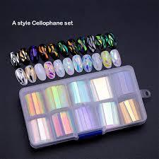 <b>BellyLady</b> 10 Rolls/<b>Box</b> Nail Foil Set Nail Sticker Decals Complete ...