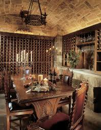 rustic wine cellars wine cellar rustic with wrought iron chandelier carved wood
