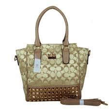 Coach Legacy Tanner In Studded Signature Small Khaki Crossbody Bags BNR
