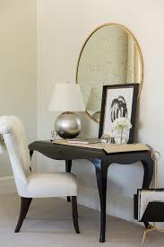 black french desk with cabriole legs with white chair view full size
