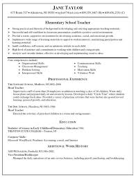 Skills Of A Teacher Resume Inspiration Elementary Education Resume Lovely Free Teacher Resume Templates