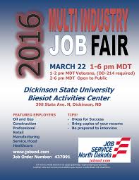 dickinson chamber of commerce 2016 multi industry job fair job fair 2016 flyer