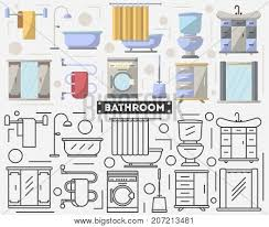 creative furniture icons set flat design. Bathroom Furniture Set In Flat Style. Bath, Shower, Wash Basin, Toilet, Creative Icons Design O