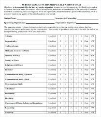 Supervisor Internship Evaluation Template Company Business Valuation ...