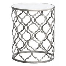 gin shu parisienne round silver metal side table  mirrors