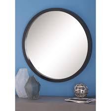modern round framed wall mirror in black