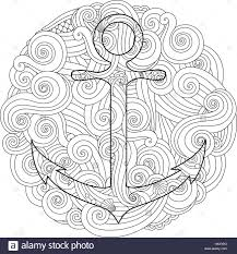 coloring page with anchor in wave mandala zentangle inspired new