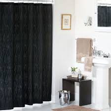 white and black shower curtain. Tiny Bathroom With White Pedestal Sink And Low Table Beside Thick Black Shower Curtain