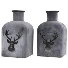 2er Set Deko Vasen Hirsch Glas Grau Dekoflasche Tisch Vase