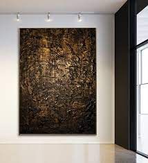 wall decor black and gold art large