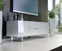 Short Media Cabinet Furniture White Glossy Wooden Media Cabinets With Double Drawers