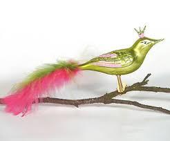 Christbaumschmuck Christbaumkugel Glas Vogel Krone Grün Pink