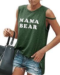 yuzhi womens graphic mama bear t shirts funny workout tank tops s army green