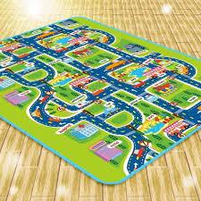 child baby crawl play mat room bedroom carpet city traffic road floor area rug