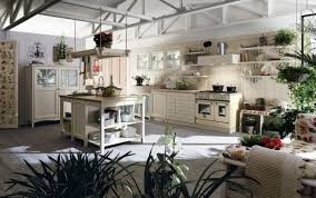 country style kitchen furniture. Beautiful Cream Color Scheme Country Style Kitchen Decoration With Furniture And Indoor Plants Steel Open Framework