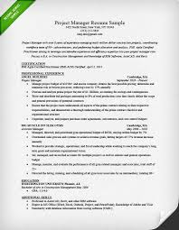 Resume Sample for a Project Manager