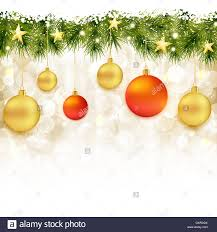 Christmas Ornaments Border Border Of Fir Twigs With Hanging Christmas Ornaments Stock