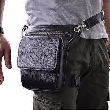 100 genuine leather men waist pack rider leg thigh bag drop male motorcycle belt hip