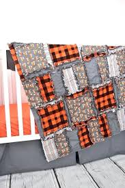 fox themed baby shower decor crib bedding woodland nursery orange gray