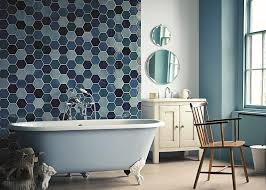 view in gallery luxurious bathroom with a claw foot standalone tub in gentle blue